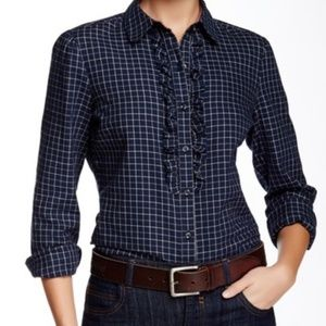 Barbour Tack Navy Plaid Ruffle Button Down
